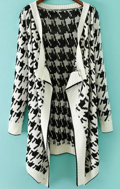 Shop White Long Sleeve Houndstooth Knit Cardigan online. Sheinside offers White Long Sleeve Houndstooth Knit Cardigan & more to fit your fashionable needs. Free Shipping Worldwide!