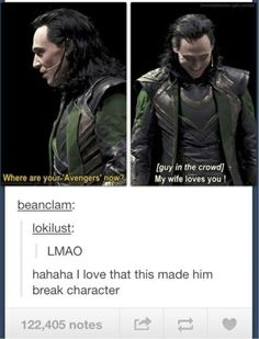 So funny. I don't care I've ready pinned this. Tom Hiddleston as Loki at SDCC will always be pinned again. The Avengers, Loki Marvel, Avengers Memes, Loki Thor, Loki Sherlock, Marvel Actors, Funny Marvel Memes, Dc Memes, Marvel Jokes