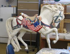 Patriotic carousel horse Carosel Horse, Carnival Rides, Wooden Horse, Painted Pony, Merry Go Round, Horse Art, Zebras, Beautiful Horses, Little Pony