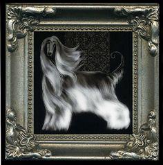miniature framed Afghan Hound dog print by polydogz on Etsy