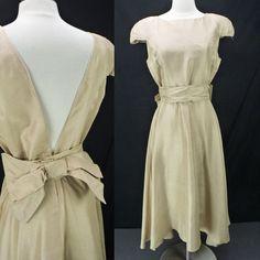 Vintage 70s Khaki Beige Rayon Bow Waist Sash Fit  amp  Flare Jazz Swing  Dress M ecbf6af25
