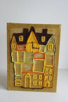 Vintage Art Embroidered house yarn art color green, via http://www.etsy.com/people/sushipotparts/favorites