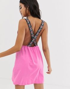 f1346d3e59a Asos Design Jersey Beach Sundress With Plunge Neck   Geo-Tribal Tape Straps