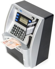 Remember the Cash Machine Bank from a few weeks ago? This ATM Savings Bank is very similar, except that it can automatically recognize UK coins, while the other Money Saving Box, Money Box, Iphone Photo Printer, Atm Cash, Savings Box, Toy Cars For Kids, Money Notes, Makeup Training, Video Game Rooms