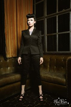 Laura Byrnes Black Label Jacket in Black Sateen with Black Chiffon overlay on the waist with built in shoulder pads