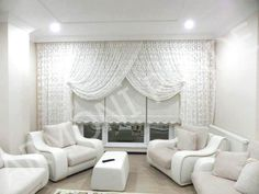 Curtains With Blinds, Valance Curtains, All White, Living Room Decor, Living Rooms, Salons, Windows, Modern, Images
