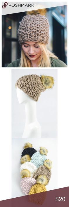 New Arrival- Chunky Knit Pom Pom Beanie Super warm and cozy mocha pom pom beanie.  Look warm and stylish with this baby on. Chunky knit pom pom beanie. Slouchy beanie. Made out of 100% smooth and soft Acrylic. Brand new! Price is firm unless bundled. Accessories Hats