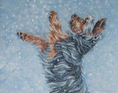 Yorkshire Terrier yorkie art CANVAS print of LA Shepard painting 12x16 dog art