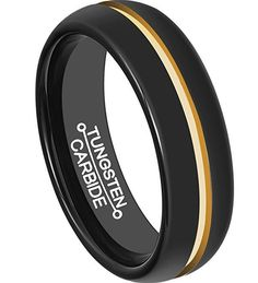 6mm Black Tungsten Carbide Ring Band Center 18K Yellow Gold Groove Plated Polished Couple Wedding Rings