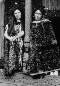 Makereti Papakura (Guide Maggie), with her sister Bella, wearing korowai - an image from the Alexander Turnbull Library. The Rotorua Library holds a copy of Maggie's Guide to the Hot Lakes, written in 1905