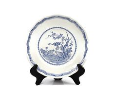 Furnivals Quail Transferware Plate / Blue and by PeriodElegance