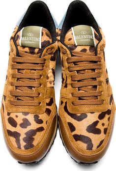 Valentino: Leopard Calf Hair Sneaker