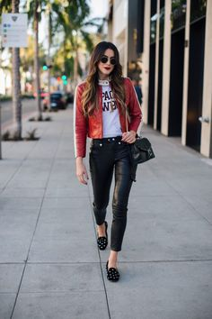 Favorites from FRAME   Thrifts and Threads. White graphic tee+black leather pants+black studd loafers+black chain shoulder bag+red leather jacket+round sunglasses. Fall Casual Outfit 2016