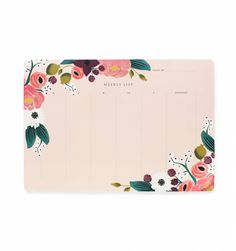 Rifle Paper Co pink floral weekly desk pad