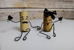 Items similar to Fun Mr. Wine Cork Couple Upcycled Handmade Drunk Wino Figurines on Etsy - Crafts - Fun Mr. Wine Cork Art, Wine Cork Crafts, Wine Bottle Crafts, Diy Cork, Wine Cork Projects, Cork Ornaments, Snowman Ornaments, Christmas Ornaments, Wine Bottle Corks