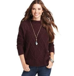 Cable Funnel Neck Sweater loft