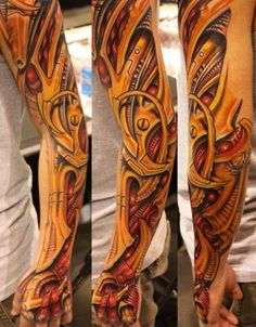 Biomechanical sleeve tattoos are some of the most creative and intricate tattoo designs in tattoo art. These tattoo designs do not have a basic format, but can be molded in many ways depending upon… Cute Foot Tattoos, Best 3d Tattoos, Great Tattoos, Popular Tattoos, Beautiful Tattoos, Body Art Tattoos, Awesome Tattoos, Tatoos, 3d Tattoo Artist
