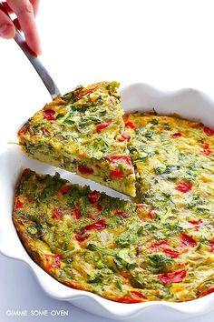 Frittata met platte kaas, broccoli en kerstomaatjes - Recept uit myTaste Baked Frittata, Broccoli Fritters, Go For It, Roasted Red Peppers, Arugula, Pesto, Veggies, Baking, Dinner