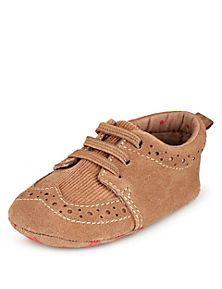 Tan Suede Brogue Pram Shoes