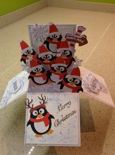 Christmas box pop up card penguins by dianne Pop Up Christmas Cards, 3d Christmas, Homemade Christmas Cards, Xmas Cards, Homemade Cards, Holiday Cards, Handmade Christmas, Box Cards Tutorial, Card Tutorials