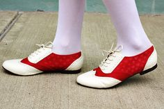 red and white saddle shoes...with hearts!