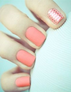 coral and silver colored stunning wedding nail desings