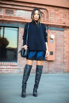 Sweater: over dress blue mini dress slip dress lace dress blue dress boots black boots over the knee