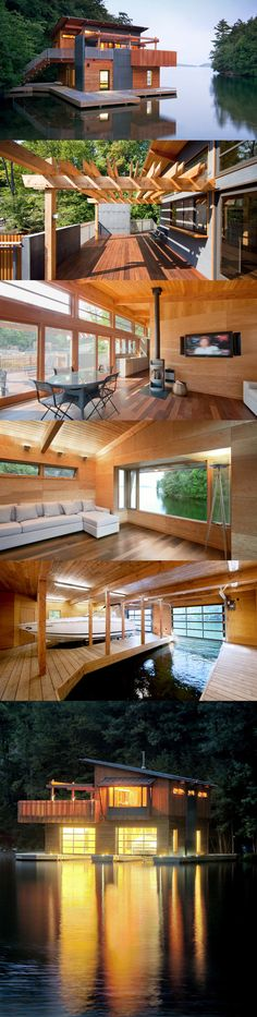 Ein Haus am See (tiny cabins lake) Amazing Architecture, Architecture Design, Floating Architecture, Tropical Architecture, Haus Am See, Floating House, Floating Boat, House Goals, Exterior Design