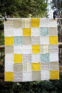 Bird Nest Blue & Lime Green Crib Rag Quilt @ etsy  @WestCoastQuilts' shop $115