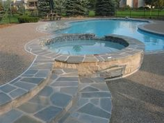 We have tumbled bluestone coping. It is not rough and does not snag bathing suits. It has been in for 2 years and through 2 Michigan winters without issues.