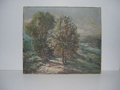 RARE TO FIND...GLENN F. BASTIAN ORIGINAL OIL PAINTING SIGNED 1941 RIVER ROAD