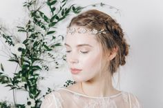 Crystal and pearl bridal browband hair vine