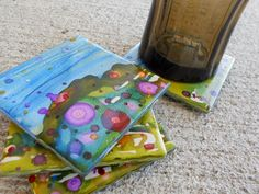 4 Hand Painted Coasters Landscape each one is original piece of artwork via Etsy