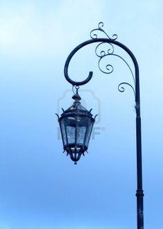 street lamp in the blue sky