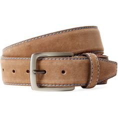Berge Men's Belt with Stitching - Blue - Size 32 ($79) ❤ liked on Polyvore featuring men's fashion, men's accessories, men's belts, blue, mens belts and mens blue belt