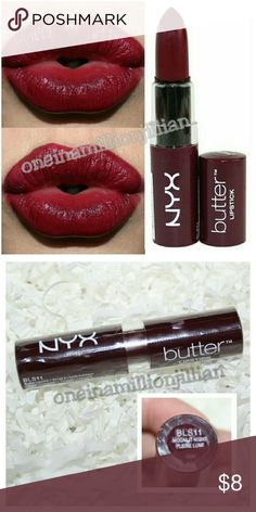 NYX Butter Lipstick - Moonlit Night aka Licorice New/Sealed (Swatches from Google)  Full Sz & Authentic  Color: Moonlit Night aka Licorice (deep burgundy)  NYX Butter Lipstick's unique texture seems to melt onto the lips, giving full, yet lightweight coverage with a luxurious satin finish.  Don't forget to check out the rest of my page for more great items & discounts. #oneinamillionjillian NYX Makeup Lipstick