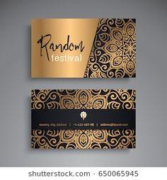 Ornamental floral business cards or invitation with mandala Luxury Business Cards, Business Card Design, Oriental, Logo Design, Branding Design, Name Card Design, Bussiness Card, Luxury Logo, Grafik Design