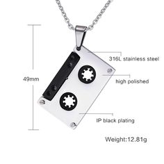 Punk Tape Necklace Pendants Stainless Steel Music Jewelry for Women Like and share if you think it`s fantastic! #Jewelry #shop #beauty #Woman's fashion #Products