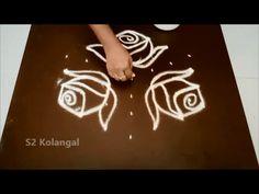 Traditional rangoli with dots//muggulu//pulli kolam//rangavalli