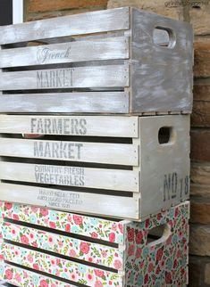 Decoupage Napkin Crates Framed Cork Boards and Drawer Shelves - Girl in the Garage Diy Decoupage Projects, Decoupage Wood, Decoupage Furniture, Diy Furniture Projects, Diy Projects, Napkin Decoupage, Welding Projects, Project Ideas, Painted Furniture