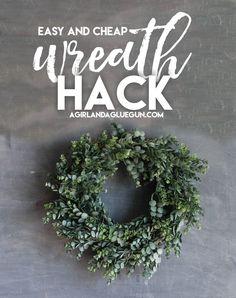 How to make a pretty green wreath for CHEAP! - A girl and a glue gun easy-and-cheap-wreath-hack wreaths Cheap Wreaths, How To Make Wreaths, Wreath Crafts, Diy Wreath, Wreath Ideas, Burlap Wreaths, Wreath Making, Yarn Wreaths, Ribbon Wreaths