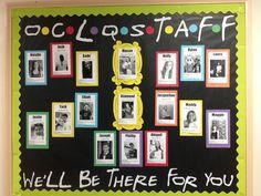 "Meet the Staff RA Bulletin Board Let's be ""Friends"" . Friends Bulletin Board, Staff Bulletin Boards, Halloween Bulletin Boards, Nurse Bulletin Board, Ra Bulletins, Teacher Boards, School Displays, School Staff, High School"