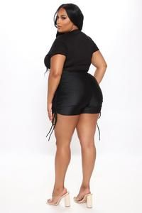 Not So Basic Ruched Shorts - Black – Fashion Nova Swim Shorts Women, Rompers Women, Jumpsuits For Women, Black Women Fashion, Red Fashion, Jackets For Women, Sweaters For Women, Clothes For Women, Swimsuits For Curves