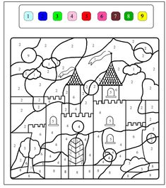 Beautiful castle to color with nine colors, From the gallery : Kids Magical Coloring Pages