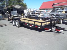 pipe equipment trailer w rails gvwr 20 ft bobcat anderson trailer by best trailers Landscape Trailers, Best Trailers, Equipment Trailers, Covered Wagon, Flat Bed, Used Cars, Cars For Sale, Dreams, Trailers