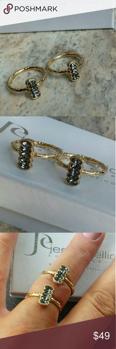 Fantastic Swarovski Black Diamond Rings by J E This is a listing for a set of 2 never worn 4 row marque sideways design of Swarovski's diamonds. Size 7,too small or I'd never sell, these were hard to get . Jewelry Rings