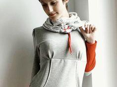DIY-Anleitung: Shirtkleid mit oder ohne Taschen nähen, Hoodie nähen / diy sewing pattern for a comfy hoodie via DaWanda.com