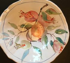 Maiolica hand painted Pomegranate bowl  by Laurie Curtis  Lauriecurtis.net