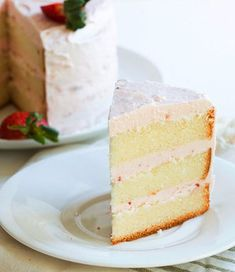 Lemon Cake with Strawberry Butter Cream Icing - This Lemon Cake with Strawberry Buttercream recipe has multiple good things going on. Layer after layer of zesty and moist cake is sandwiched between creamy, sweet and smooth strawberry icing for a tangy and sweet fruit flavored dessert. A great sweet treat for the spring and summer months and holidays like Easter, Mother's Day and Memorial Day picnics. Perfect for parties and bridal and baby showers, but a great after dinner dessert just for t...