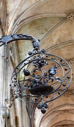 Wrought iron museum in church in Rouen, France. Version voyages- www. Design Café, Display Design, Muebles Estilo Art Nouveau, Pub Signs, Iron Art, Business Signs, Paris, Store Signs, Hanging Signs